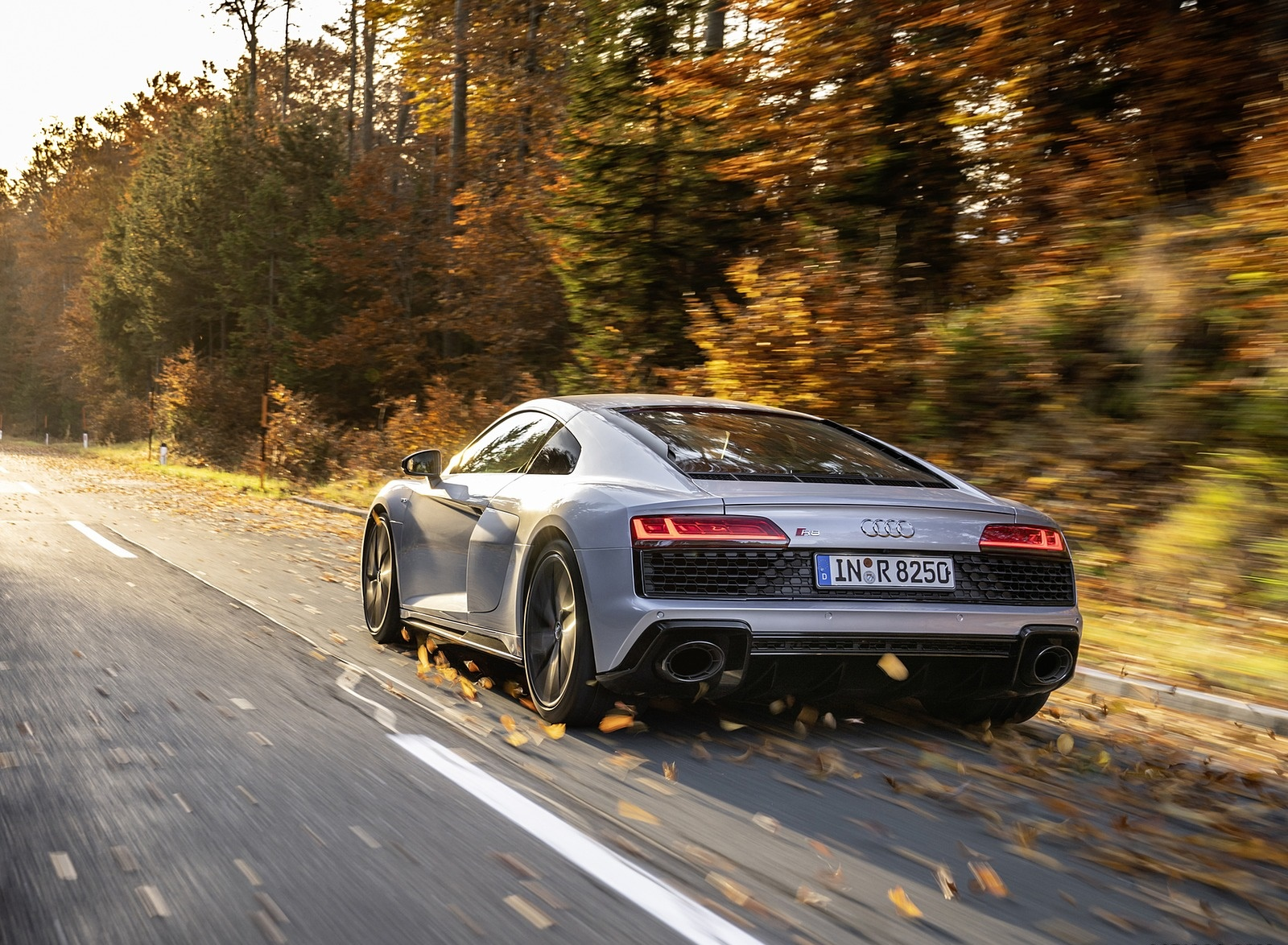2020 Audi R8 V10 RWD Coupe (Color: Florett Silver) Rear Three-Quarter Wallpapers #7 of 32