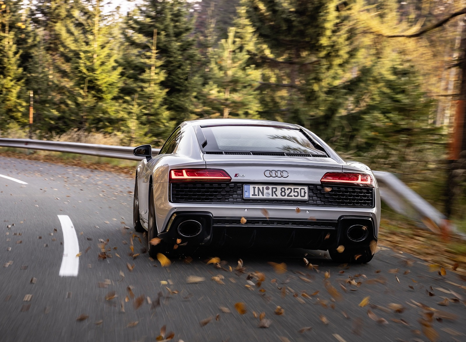 2020 Audi R8 V10 RWD Coupe (Color: Florett Silver) Rear Wallpapers (8)