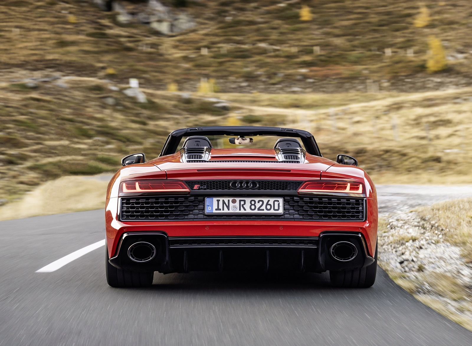 2020 Audi R8 V10 RWD Spyder (Color: Tango Red) Rear Wallpapers (6)