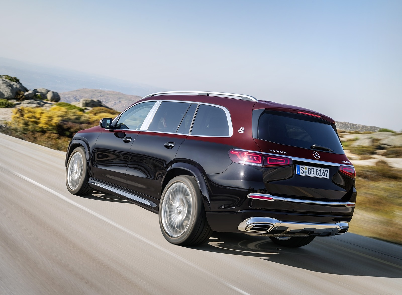 2021 Mercedes-Maybach GLS 600 (Color: Rubellite Red or Obsidian Black) Rear Three-Quarter Wallpapers (3)