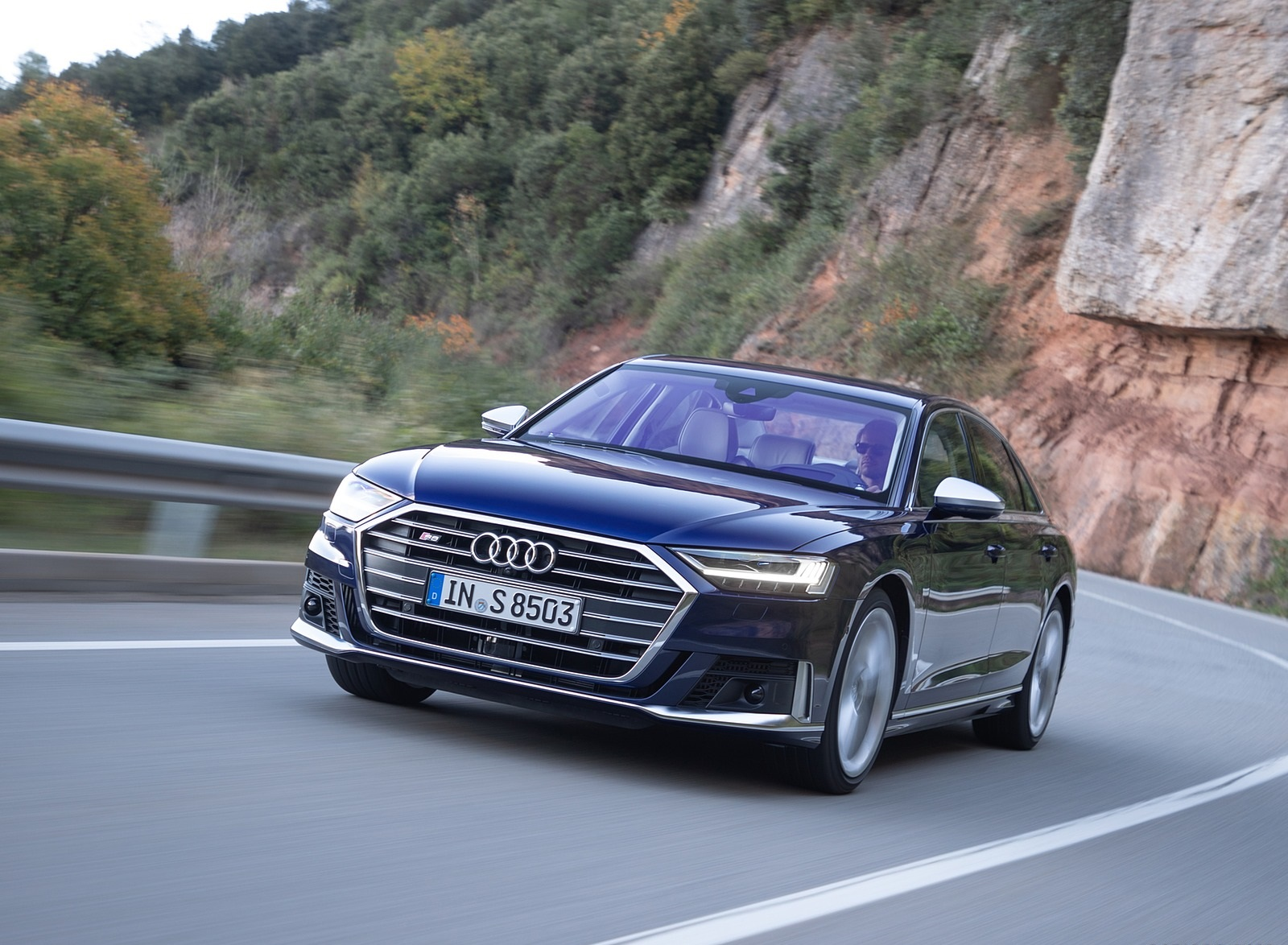 2020 Audi S8 (Color: Navarra Blue) Front Three-Quarter Wallpapers (3)