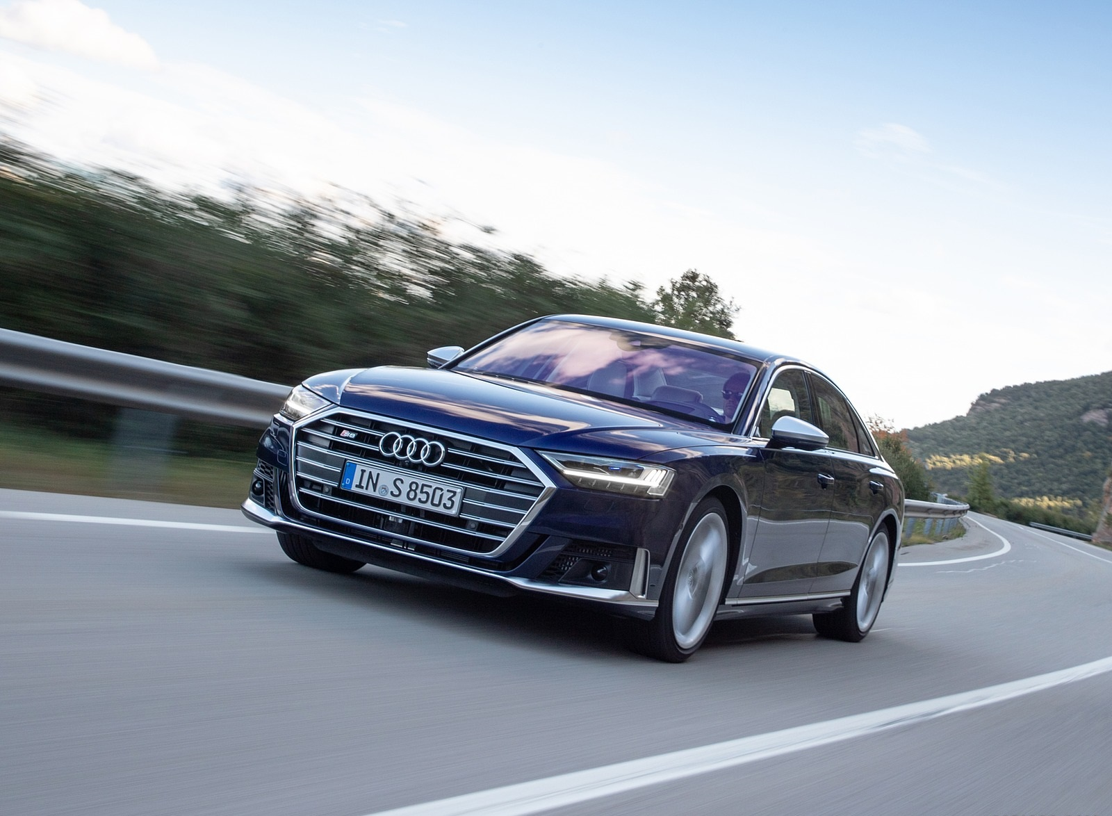 2020 Audi S8 (Color: Navarra Blue) Front Three-Quarter Wallpapers (1)