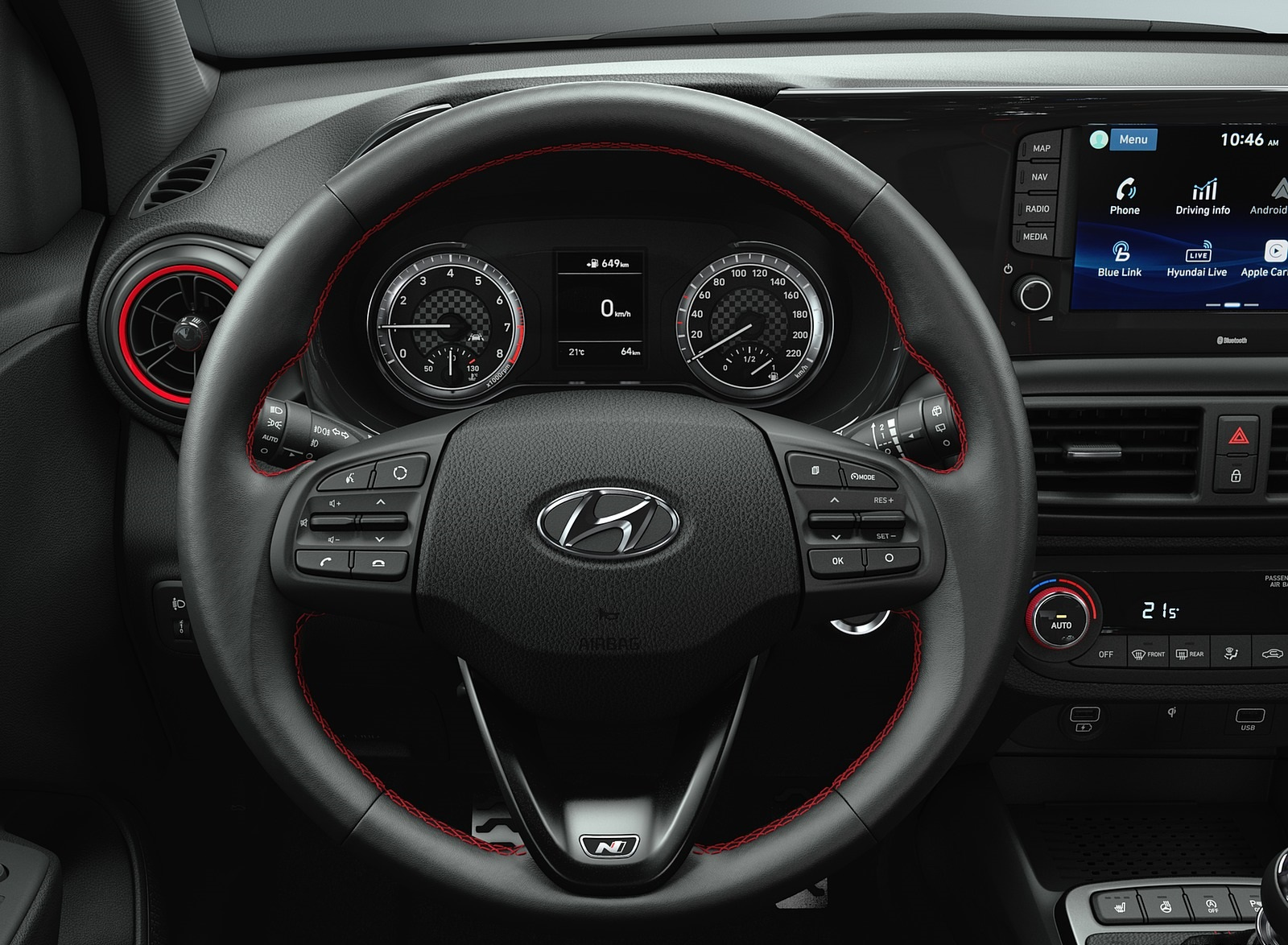 2020 Hyundai i10 N Line Interior Steering Wheel Wallpapers (2)