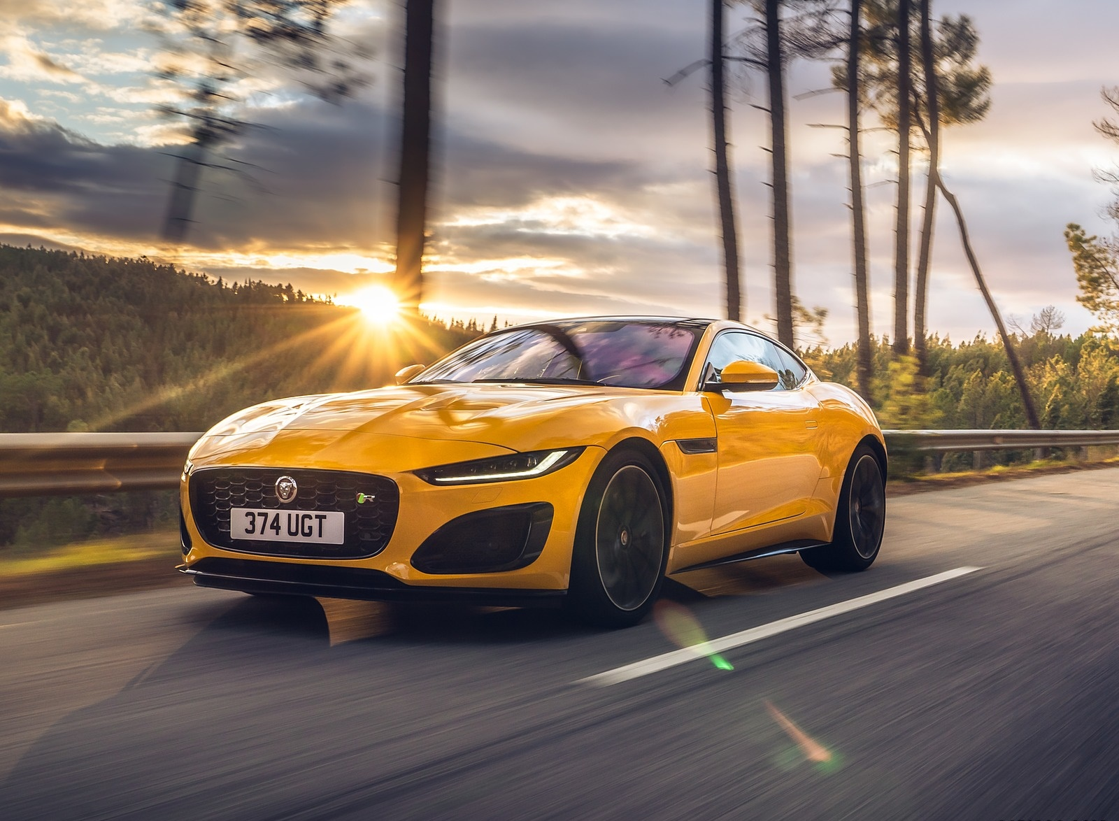 2021 Jaguar F-TYPE R Coupe AWD (Color: Sorrento Yellow) Front Three-Quarter Wallpapers (2)