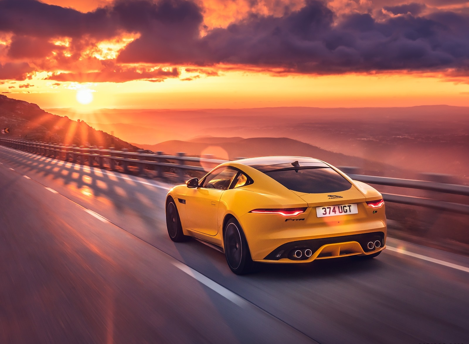 2021 Jaguar F Type R Coupe Awd Color Sorrento Yellow Rear Three