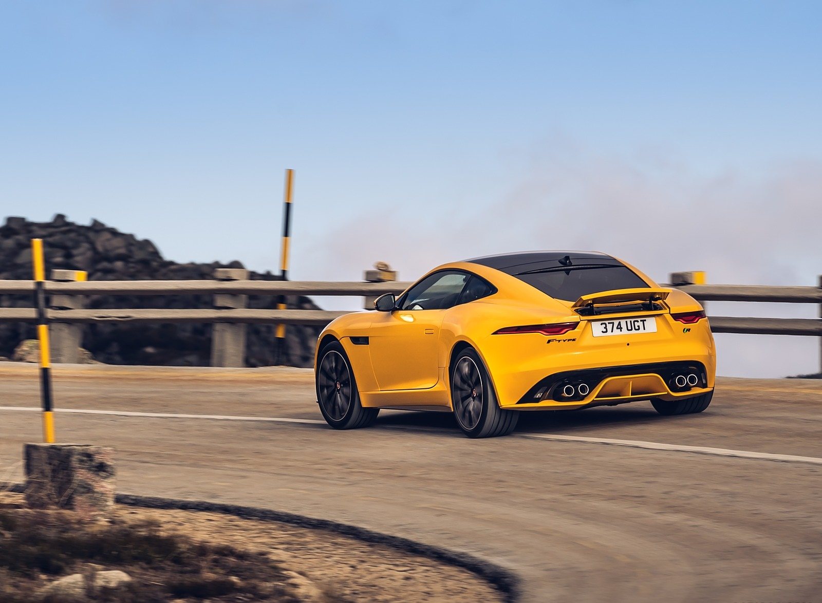 2021 Jaguar F-TYPE R Coupe AWD (Color: Sorrento Yellow) Rear Three-Quarter Wallpapers (6)