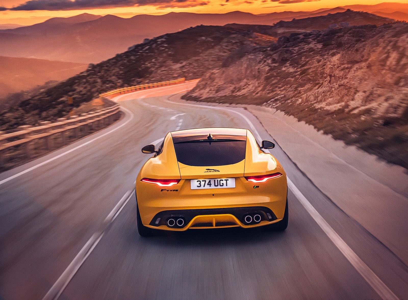 2021 Jaguar F-TYPE R Coupe AWD (Color: Sorrento Yellow) Rear Wallpapers (8)