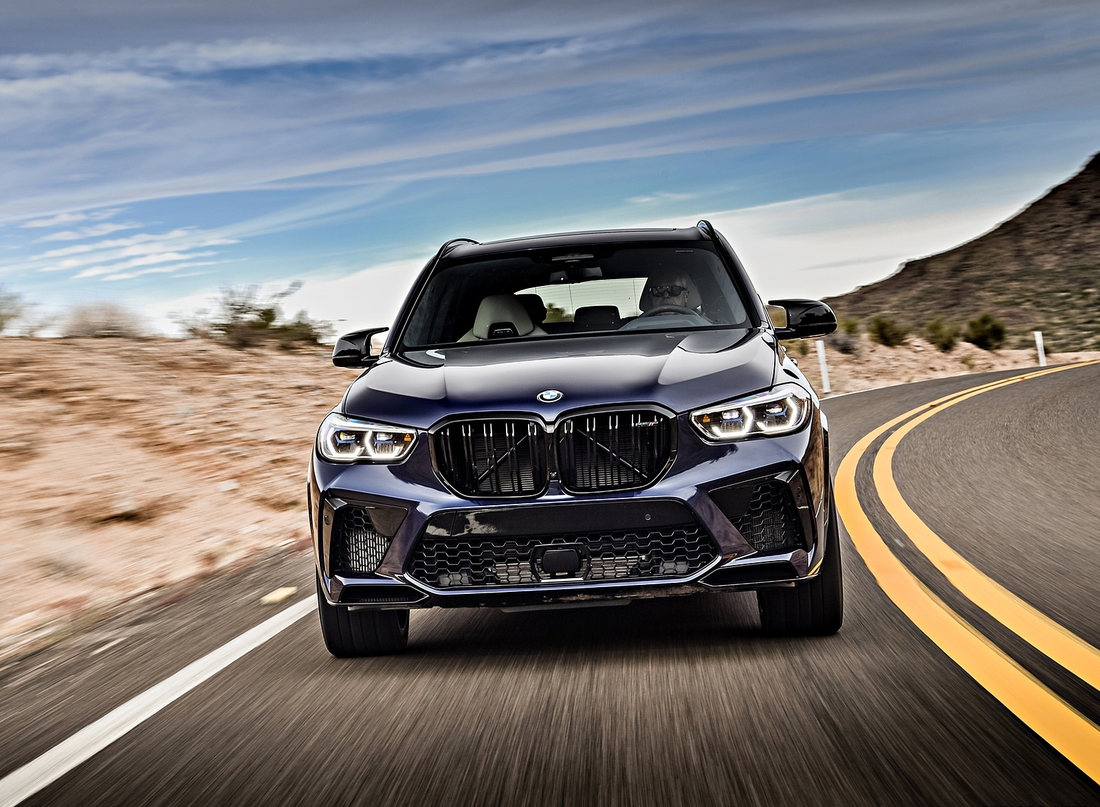 2020 BMW X5 M Competition (Color: Tanzanit Blue Metallic; US-Spec) Front Wallpapers (4)