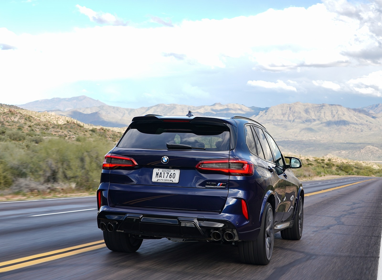 2020 BMW X5 M Competition (Color: Tanzanit Blue Metallic; US-Spec) Rear Wallpapers (6)