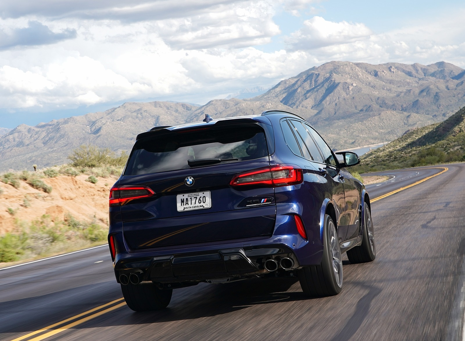 2020 BMW X5 M Competition (Color: Tanzanit Blue Metallic; US-Spec) Rear Wallpapers (10)