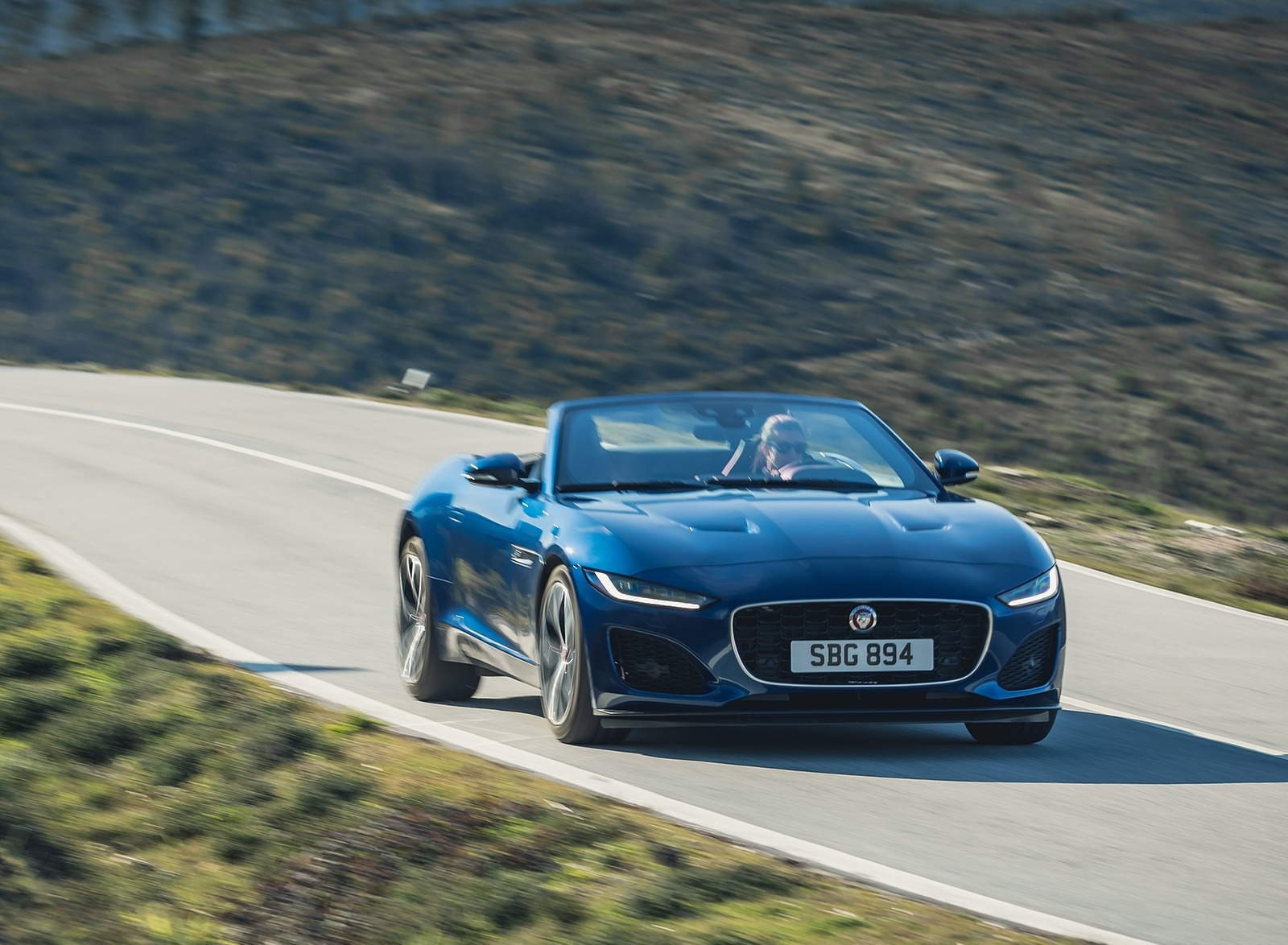 2021 Jaguar F-TYPE P300 Convertible RWD (Color: Bluefire) Front Three-Quarter Wallpapers (3)
