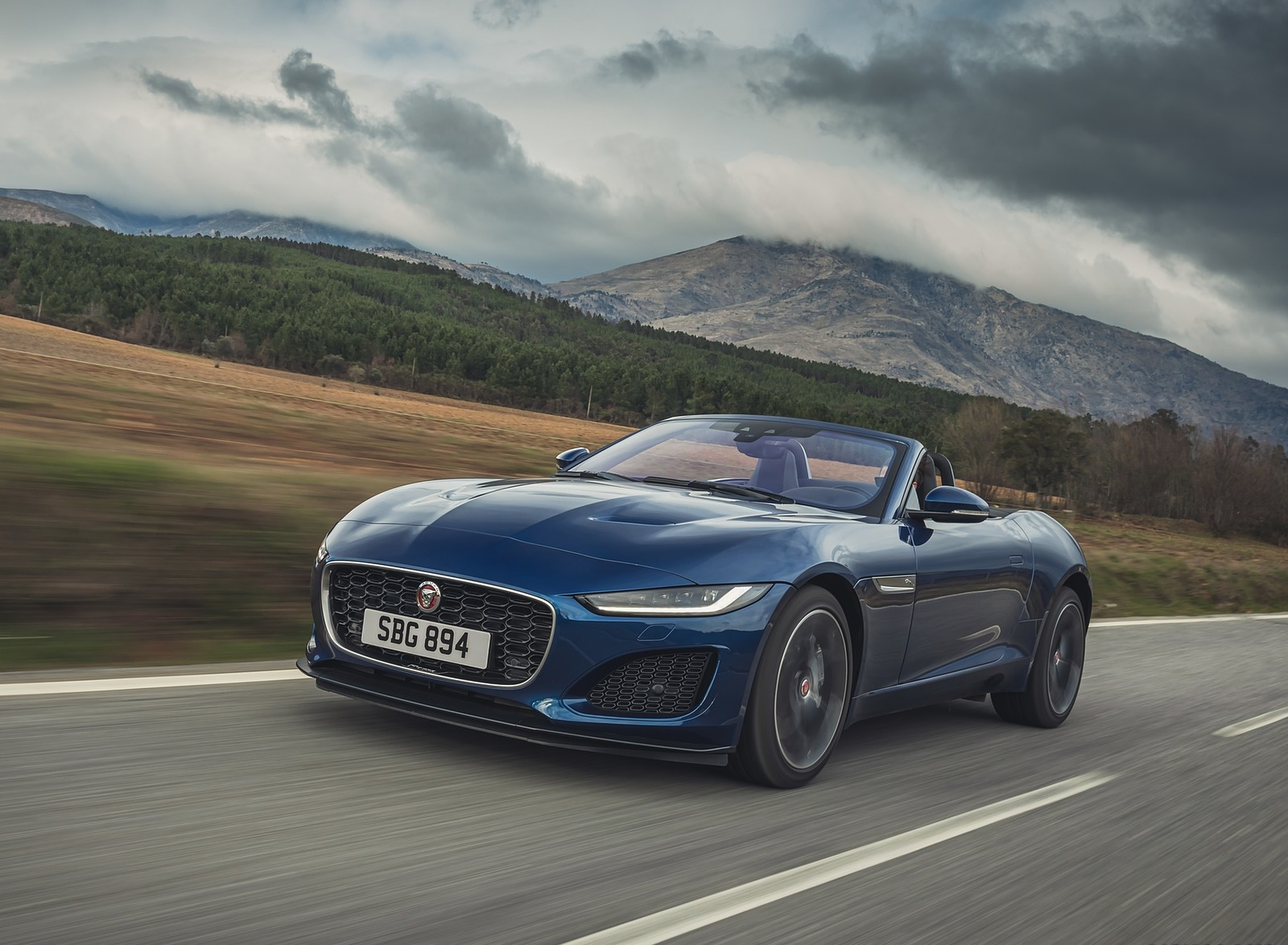 2021 Jaguar F-TYPE P300 Convertible RWD (Color: Bluefire) Front Three-Quarter Wallpapers (1)