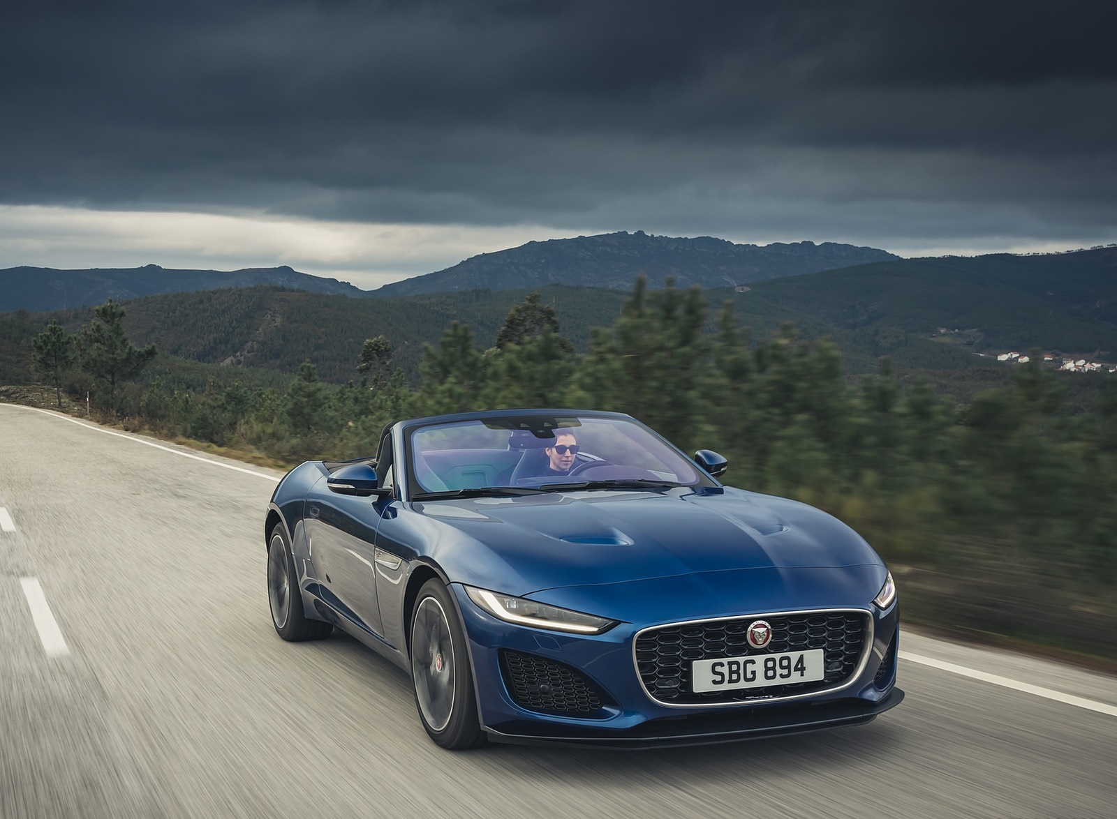 2021 Jaguar F-TYPE P300 Convertible RWD (Color: Bluefire) Front Three-Quarter Wallpapers (4)