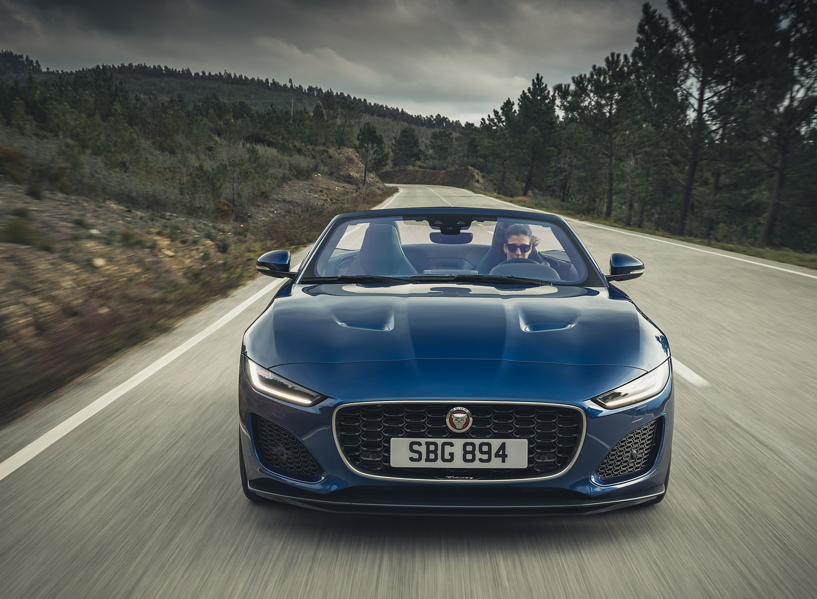 2021 Jaguar F-TYPE P300 Convertible RWD (Color: Bluefire) Front Wallpapers (7)