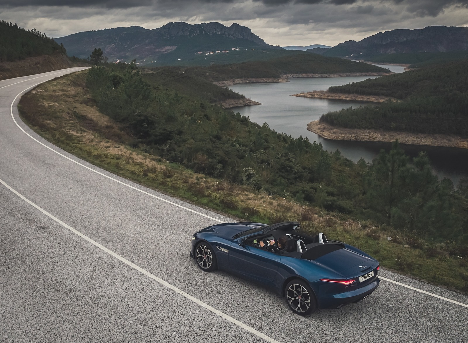 2021 Jaguar F-TYPE P300 Convertible RWD (Color: Bluefire) Rear Three-Quarter Wallpapers (9)