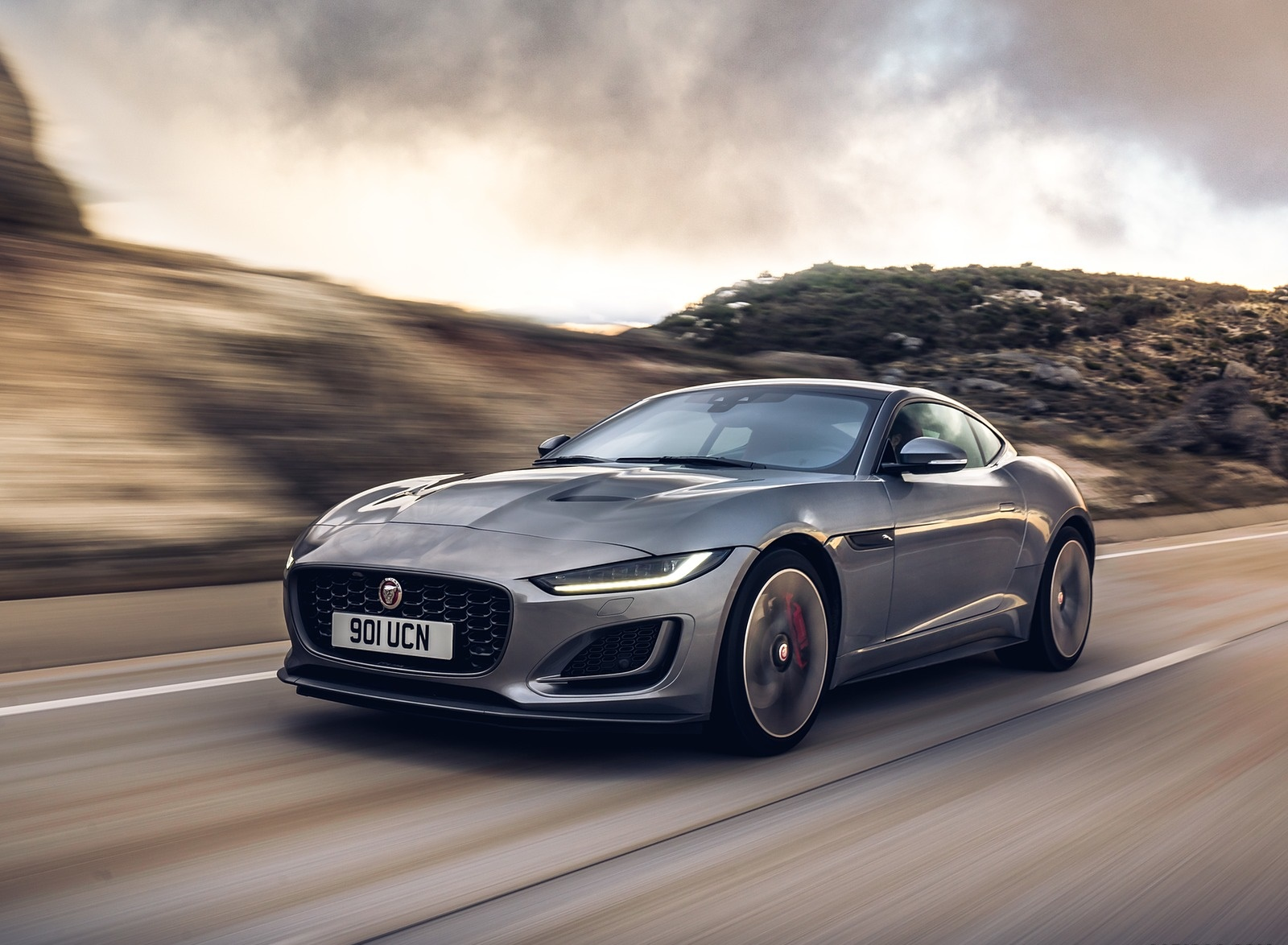 2021 Jaguar F-TYPE P300 Coupe RWD (Color: Eiger Grey) Front Three-Quarter Wallpapers (1)