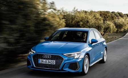 2021 Audi A3 Sportback (Color: Atoll Blue) Front Three-Quarter Wallpapers 450x275 (42)