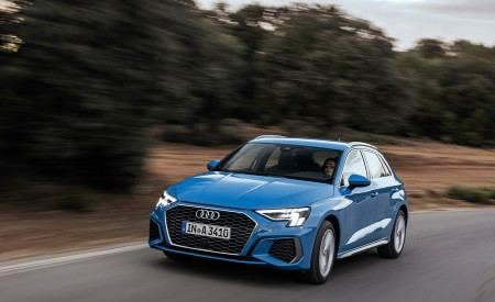 2021 Audi A3 Sportback (Color: Atoll Blue) Front Three-Quarter Wallpapers 450x275 (44)