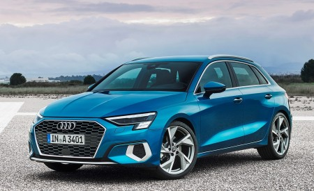 2021 Audi A3 Sportback (Color: Atoll Blue) Front Three-Quarter Wallpapers 450x275 (76)