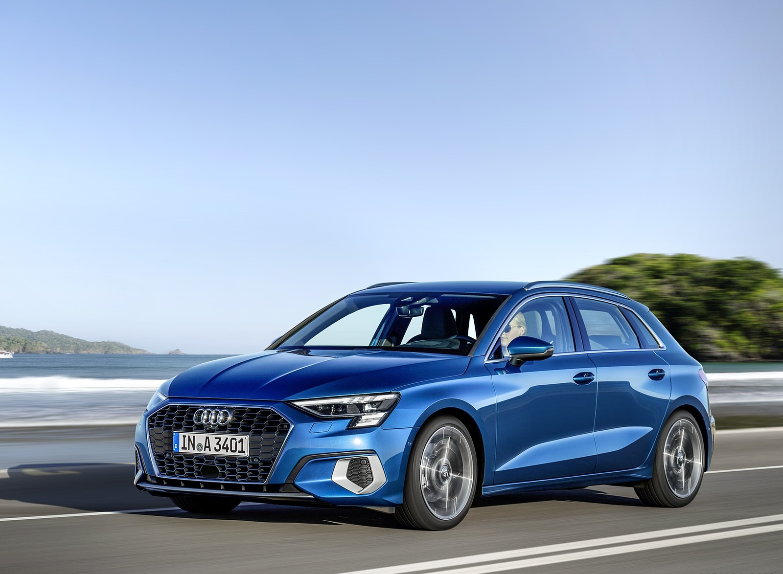 2021 Audi A3 Sportback (Color: Atoll Blue) Front Three-Quarter Wallpapers (1)