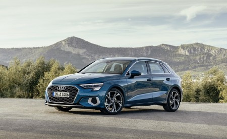 2021 Audi A3 Sportback (Color: Atoll Blue) Front Three-Quarter Wallpapers 450x275 (58)