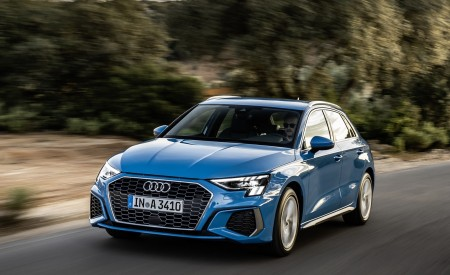 2021 Audi A3 Sportback (Color: Atoll Blue) Front Three-Quarter Wallpapers 450x275 (45)