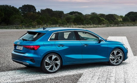 2021 Audi A3 Sportback (Color: Atoll Blue) Rear Three-Quarter Wallpapers 450x275 (78)