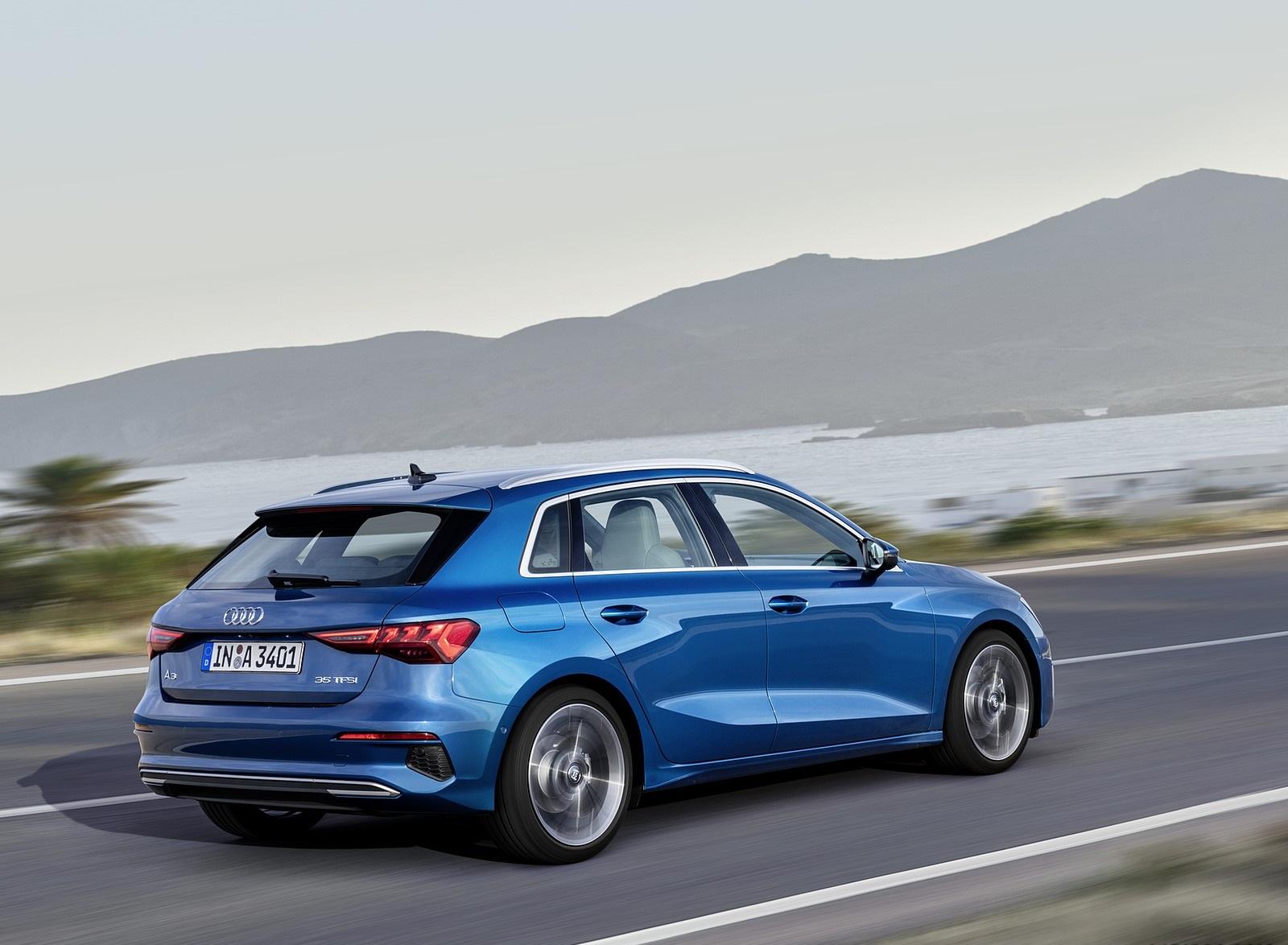 2021 Audi A3 Sportback (Color: Atoll Blue) Rear Three-Quarter Wallpapers (2)