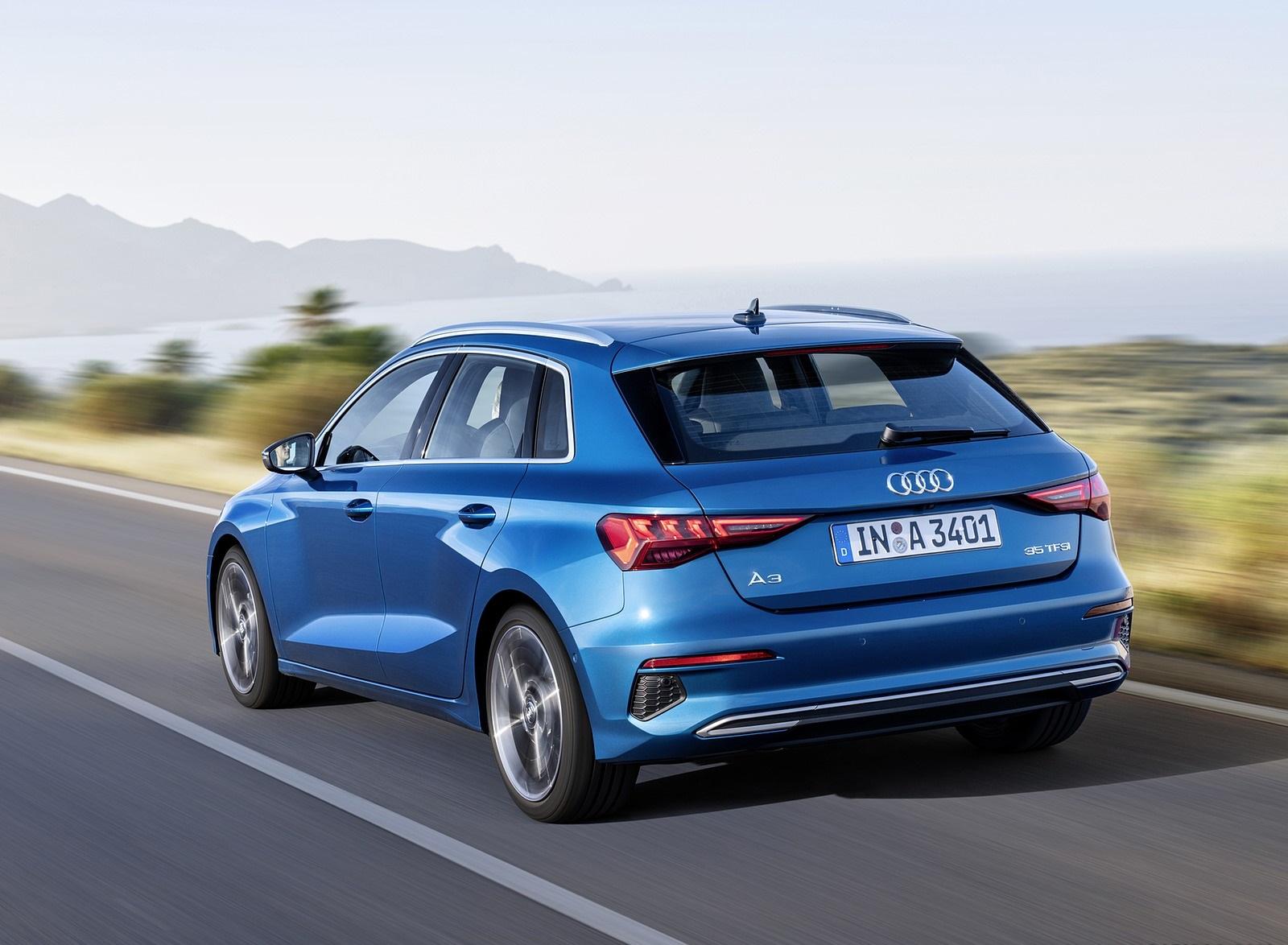 2021 Audi A3 Sportback (Color: Atoll Blue) Rear Three-Quarter Wallpapers (3)