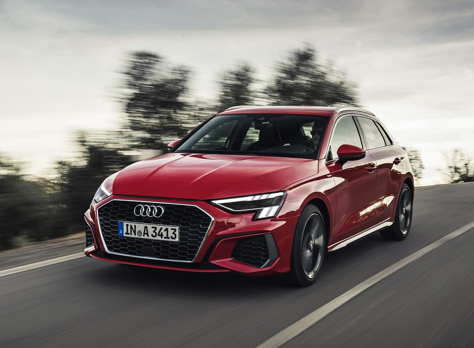 2021 Audi A3 Sportback (Color: Tango Red) Front Three-Quarter Wallpapers (2)