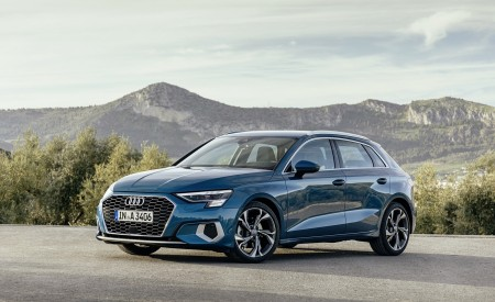 2021 Audi A3 Sportback (Color: Turbo Blue) Front Three-Quarter Wallpapers 450x275 (23)