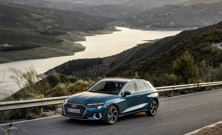 2021 Audi A3 Sportback (Color: Turbo Blue) Front Three-Quarter Wallpapers 450x275 (25)
