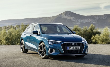 2021 Audi A3 Sportback (Color: Turbo Blue) Front Three-Quarter Wallpapers 450x275 (26)