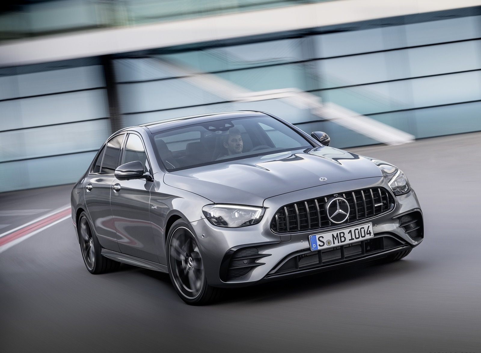 2021 Mercedes-AMG E 53 4MATIC+ Night Package (Color: Selenite Grey Metallic) Front Three-Quarter Wallpapers (1)