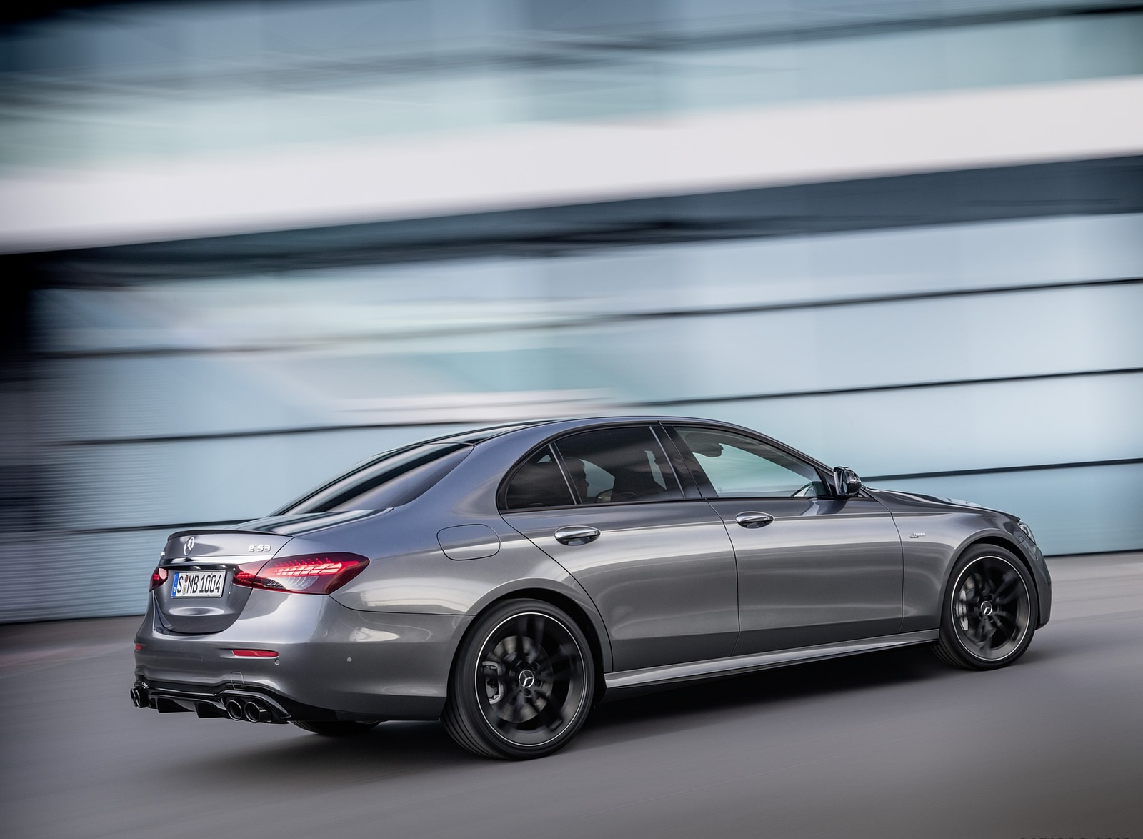 2021 Mercedes-AMG E 53 4MATIC+ Night Package (Color: Selenite Grey Metallic) Rear Three-Quarter Wallpapers (4)
