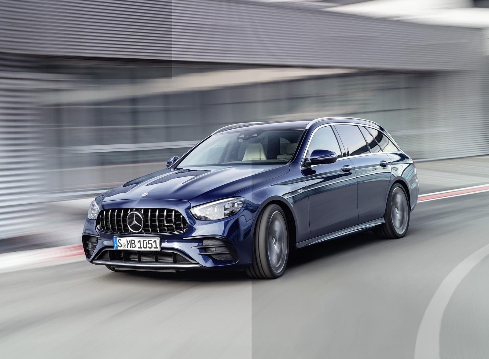 2021 Mercedes-AMG E 53 Estate 4MATIC+ T-Model (Color: Cavansite Blue Metallic) Front Three-Quarter Wallpapers (1)