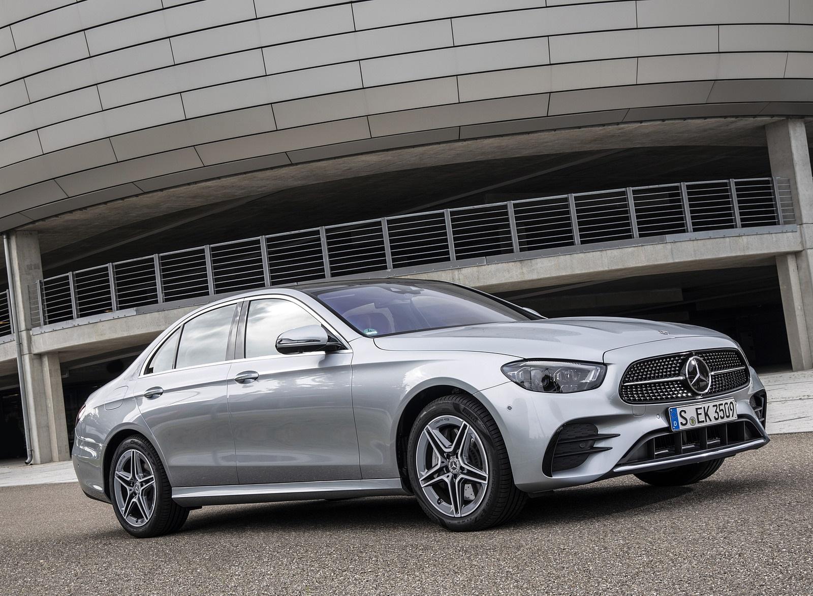 2021 Mercedes-Benz E 350 (Color: Hightech silver) Front Three-Quarter Wallpapers (9)
