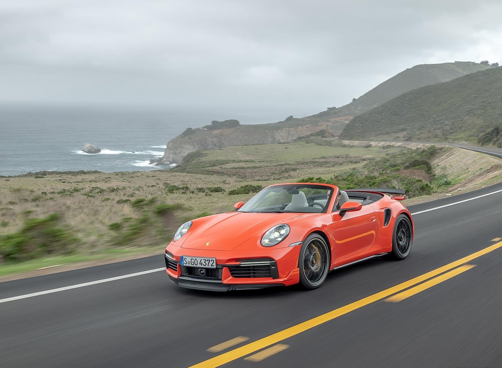 2021 Porsche 911 Turbo S Cabrio (Color: Lava Orange) Front Three-Quarter Wallpapers (2)