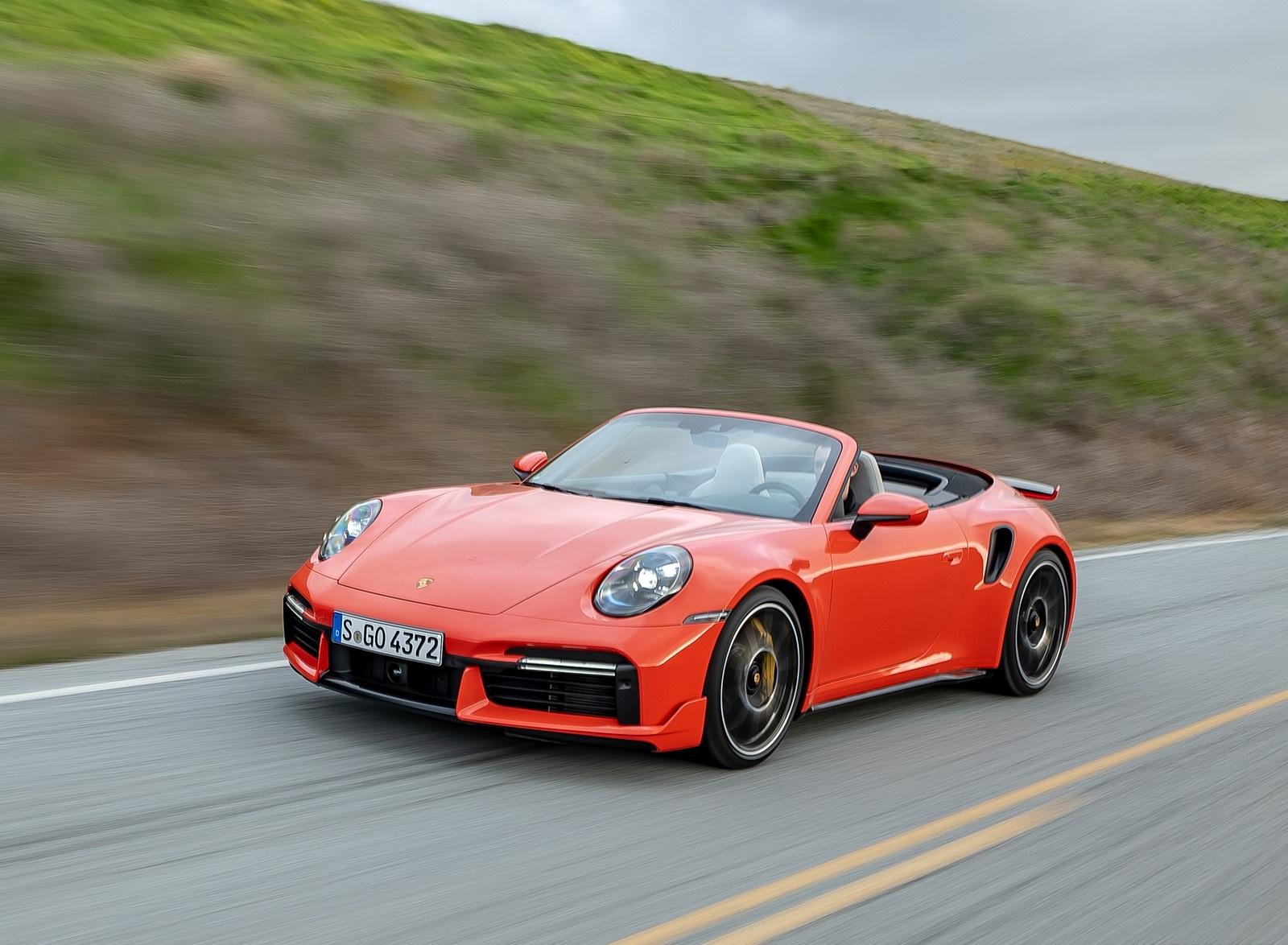 2021 Porsche 911 Turbo S Cabrio (Color: Lava Orange) Front Three-Quarter Wallpapers (4)
