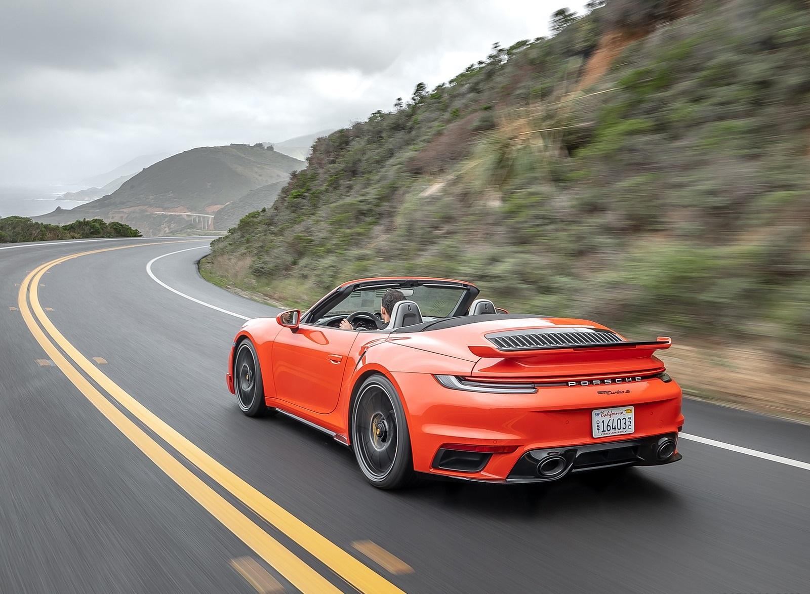 2021 Porsche 911 Turbo S Cabrio (Color: Lava Orange) Rear Three-Quarter Wallpapers (6)