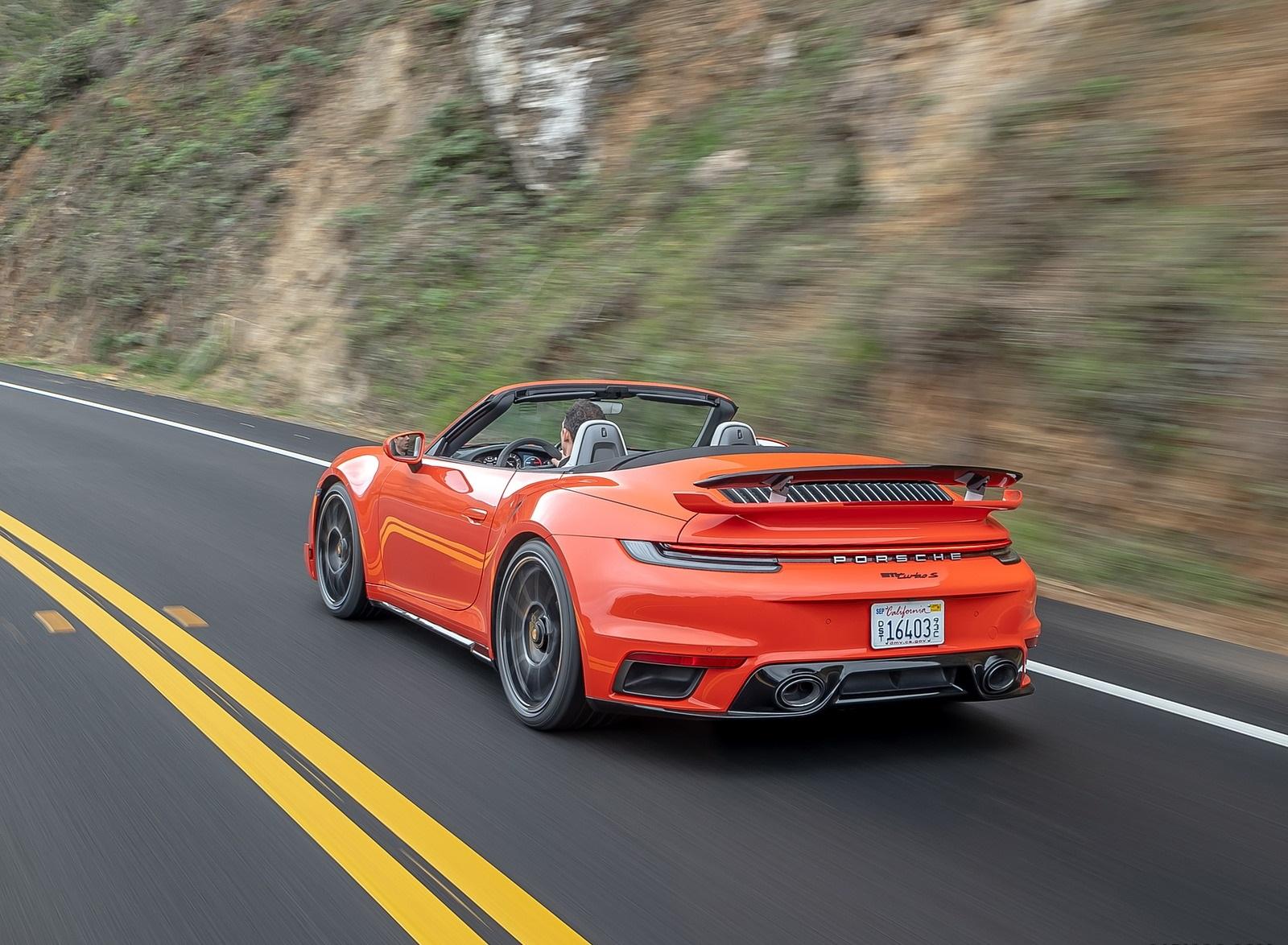 2021 Porsche 911 Turbo S Cabrio (Color: Lava Orange) Rear Three-Quarter Wallpapers (7)