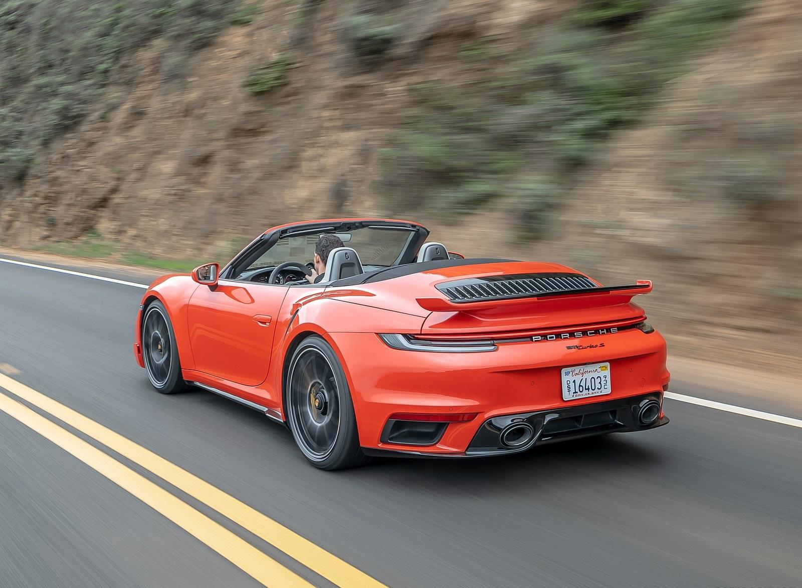 2021 Porsche 911 Turbo S Cabrio (Color: Lava Orange) Rear Three-Quarter Wallpapers (8)