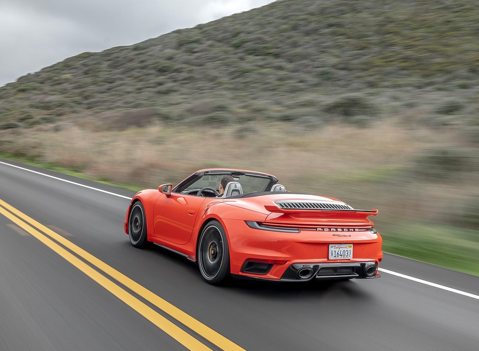 2021 Porsche 911 Turbo S Cabrio (Color: Lava Orange) Rear Three-Quarter Wallpapers (9)