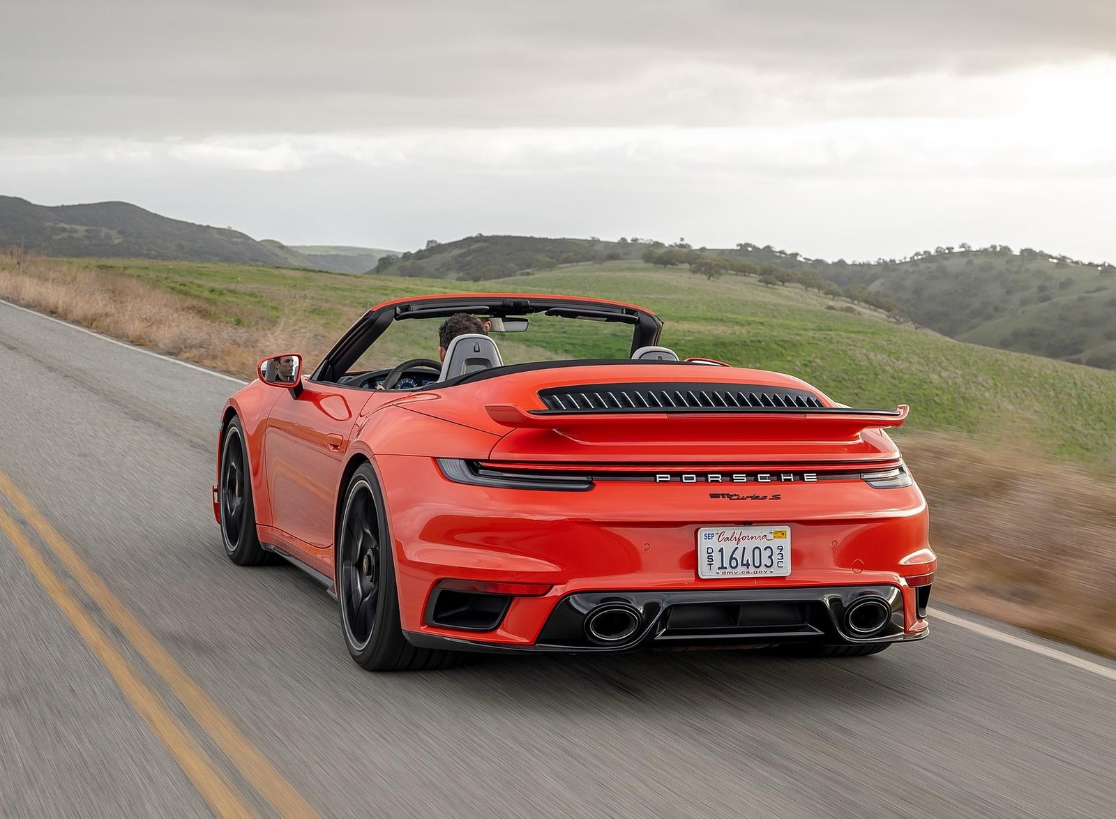 2021 Porsche 911 Turbo S Cabrio (Color: Lava Orange) Rear Three-Quarter Wallpapers (5)