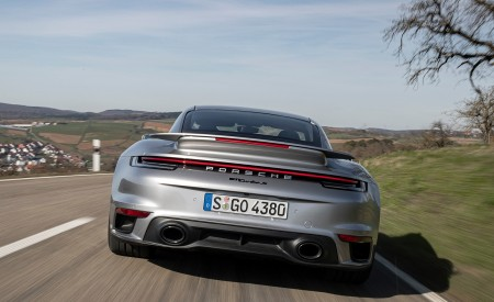 2021 Porsche 911 Turbo S Coupe (Color: GT Silver Metallic) Rear Wallpapers 450x275 (97)