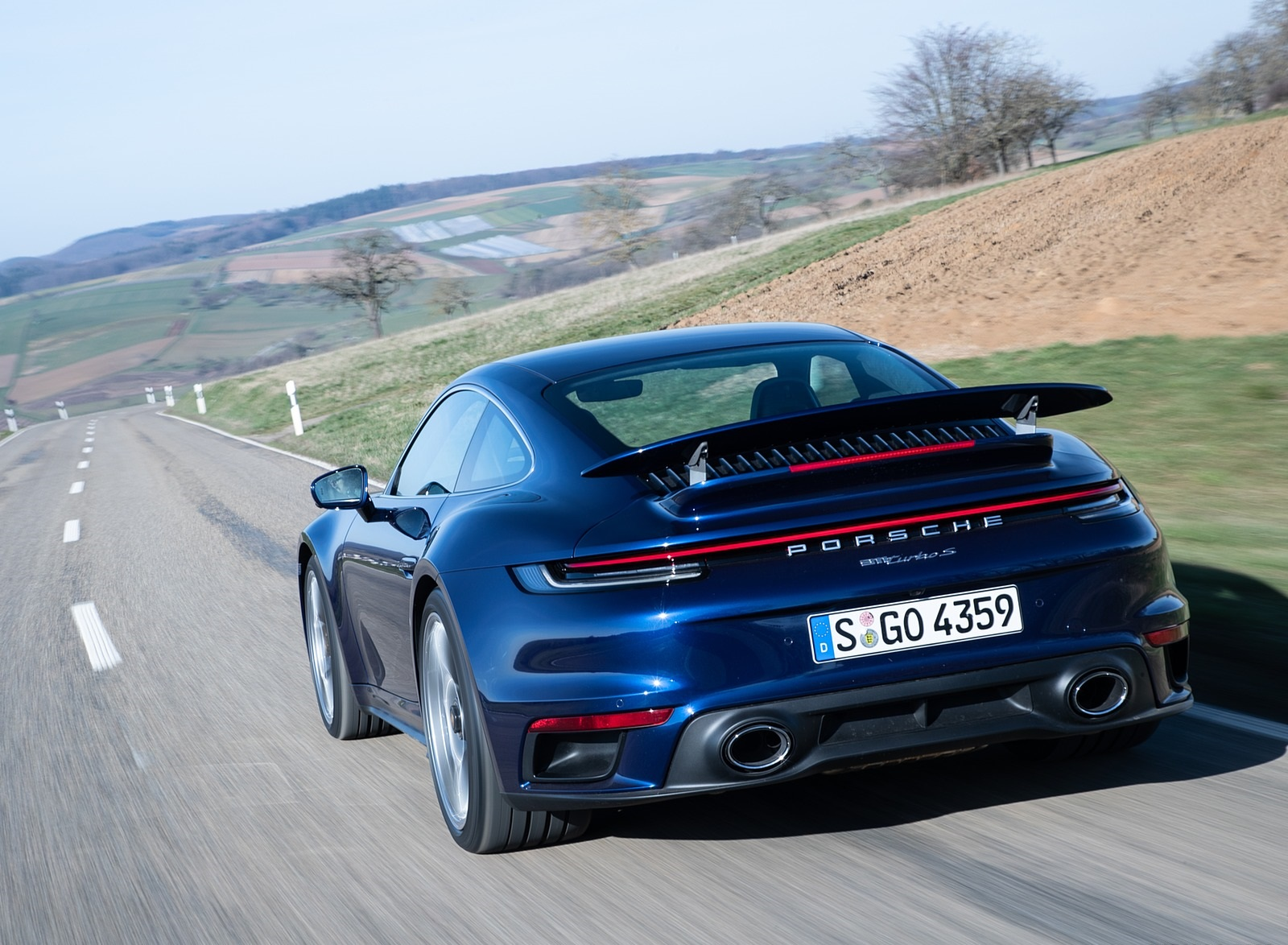 2021 Porsche 911 Turbo S Coupe Color Gentian Blue Metallic Rear Wallpapers 105 Newcarcars