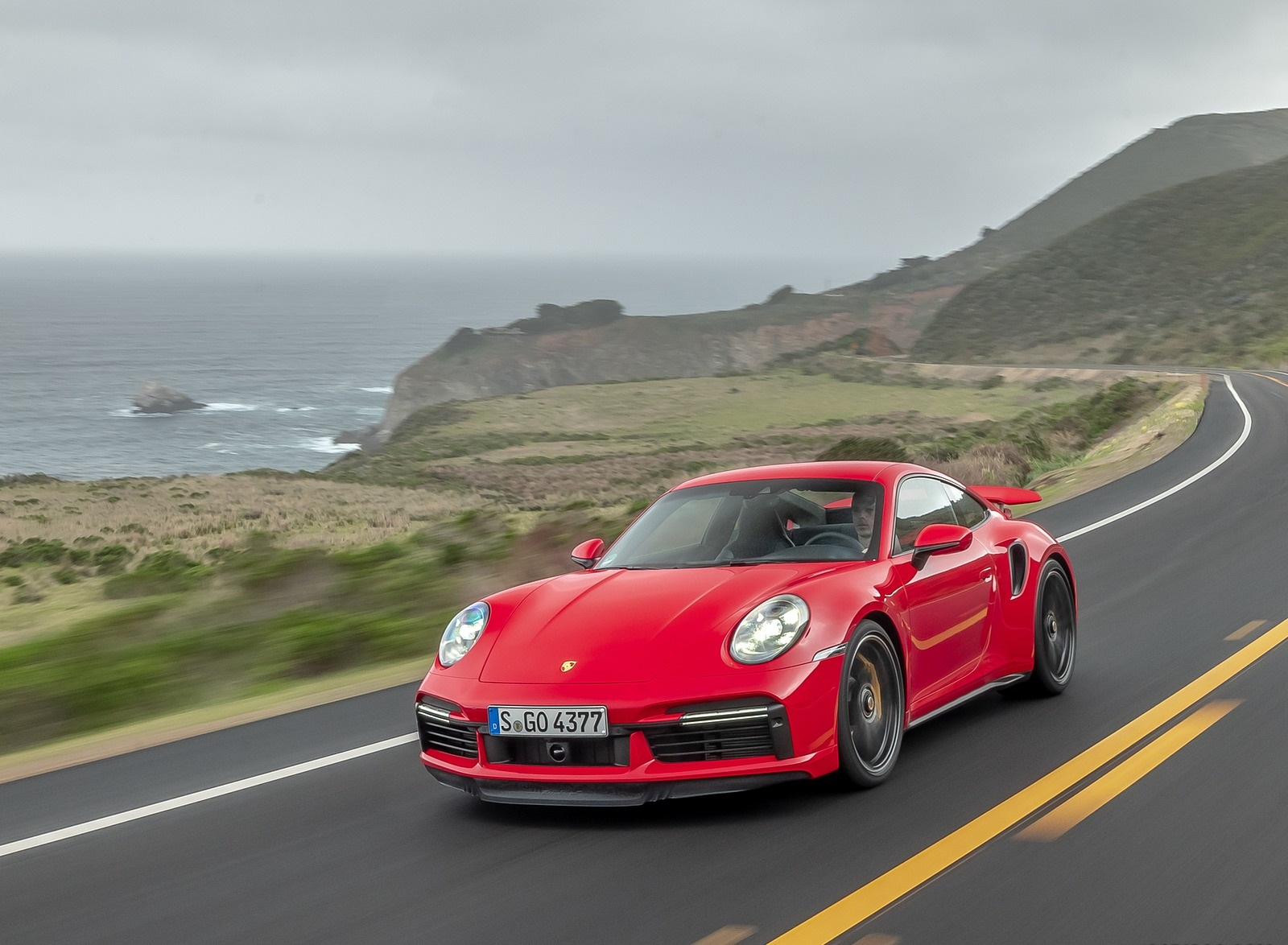 2021 Porsche 911 Turbo S Coupe (Color: Guards Red) Front Three-Quarter Wallpapers (2)