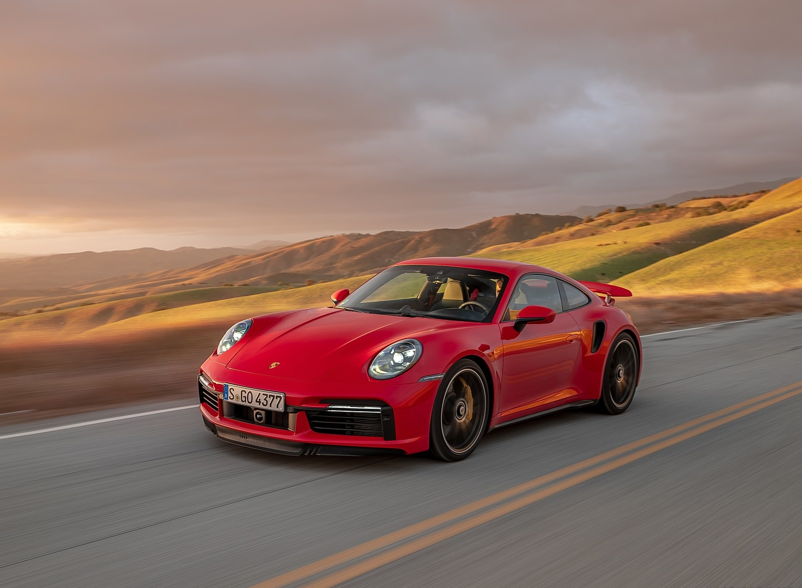 2021 Porsche 911 Turbo S Coupe (Color: Guards Red) Front Three-Quarter Wallpapers (1)