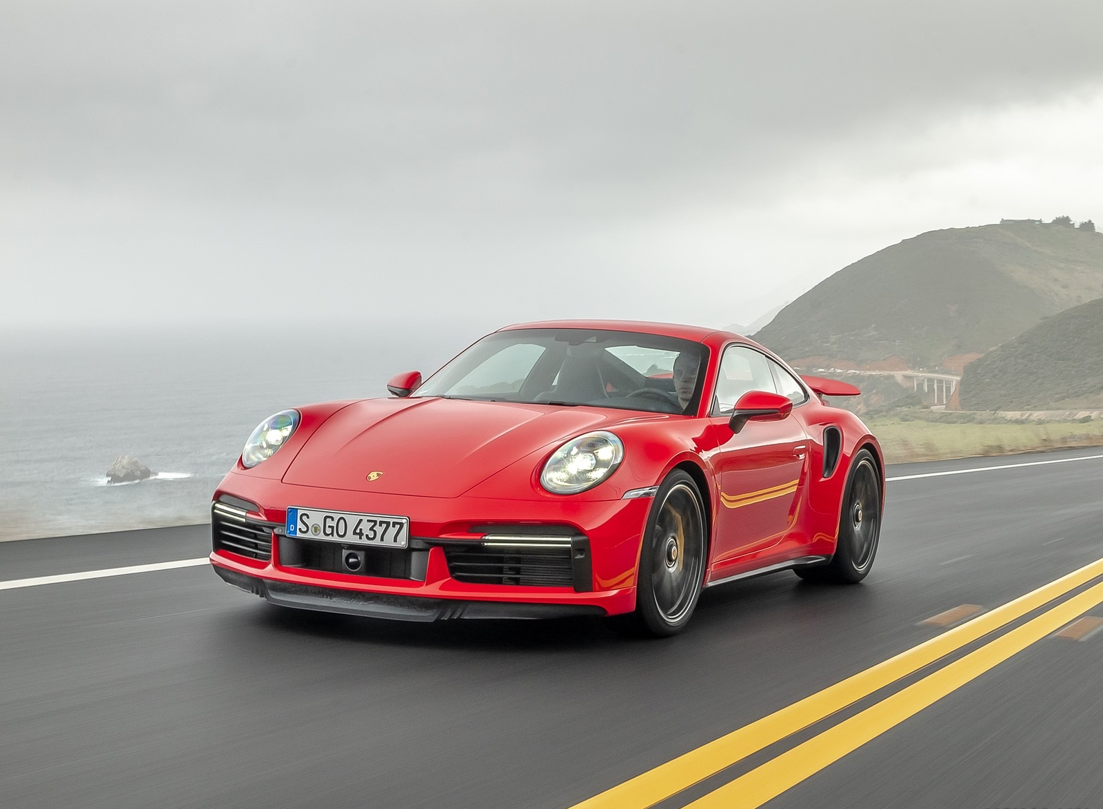2021 Porsche 911 Turbo S Coupe (Color: Guards Red) Front Three-Quarter Wallpapers (7)