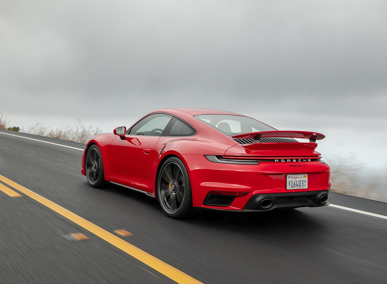 2021 Porsche 911 Turbo S Coupe (Color: Guards Red) Rear Three-Quarter Wallpapers (9)